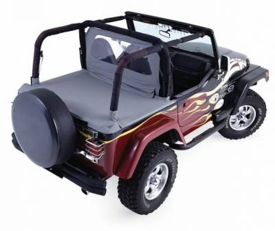 Rampage - Jeep Wrangler Rampage Tonneau Cover - with Factory Soft Top - Channel Mount - Denim Black - 701015