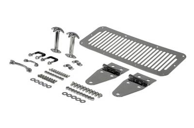Omix - Rugged Ridge Hood Kit - For Use with Full Doors - Stainless Steel - 11101-01