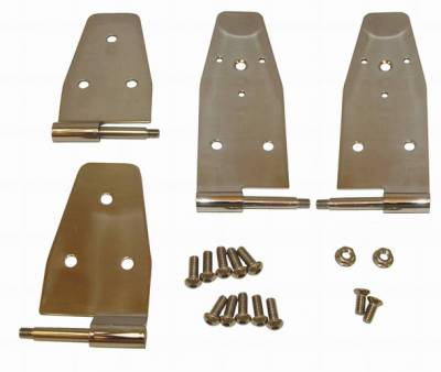 Omix - Rugged Ridge Door Hinge Kit - For Use with Full Steel Doors - 4 Piece - Stainless Steel - Front - 11113-03