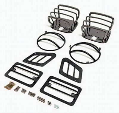 Omix - Rugged Ridge Euro Guard Kit - Headlight & Taillight & Side Marker Guard - Black Chrome - 11180-05