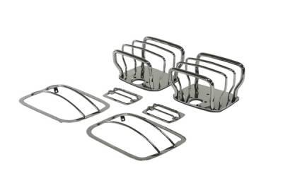 Omix - Rugged Ridge Euro Guard Kit - Headlight & Taillight & Side Marker Guard - Black Chrome - 11180-06