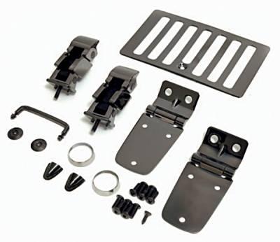 Omix - Rugged Ridge Hood Kit - Black Chrome - 11180-07