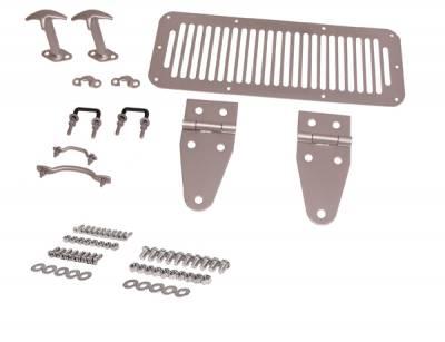 Omix - Rugged Ridge Complete Hood Kit - Stainless Steel - 11185-99