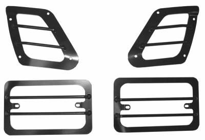 Omix - Rugged Ridge Euro Guard Kit - Turn Signal & Side Flare Guard - Front - 4 Piece - Black - 11231-01