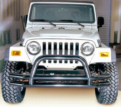 Omix - Outland Front Tube Bumper with Riser - Black - 11560-01