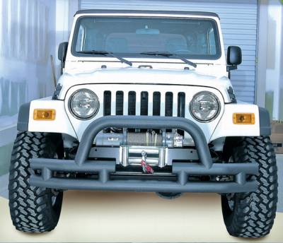 Omix - Outland Front Bumper with Winch Cut Out - Textured Black - 11561-03
