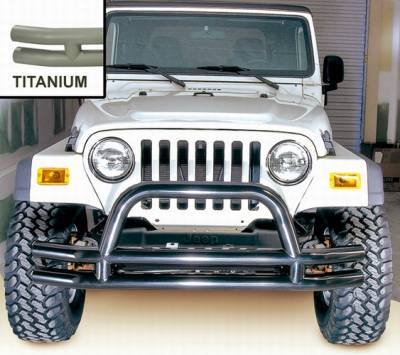 Omix - Outland Front Tube Bumper with Riser - Titanium - 11562-01
