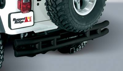 Omix - Outland Rear Tube Bumper with Hitch - Black - 11570-02