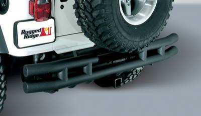 Omix - Outland Rear Tube Bumper with Hitch - Textured Black - 11571-04