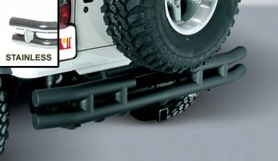 Omix - Outland Rear Tube Bumper with Hitch - Stainless - 11573-04