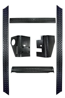 Omix - Rugged Ridge Body Armor Kit - Including Pair Of Rear Tall Corners - Pair Of Rocker Side Panel - Front Frame Cover - Rear Tailgate Sill - 11650-51