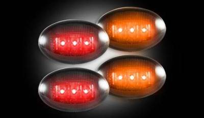 Recon - Recon LED Fender Lenses - Smoked Lens Black Trim - 2 Red and 2 Amber - 4PC - 264132BK