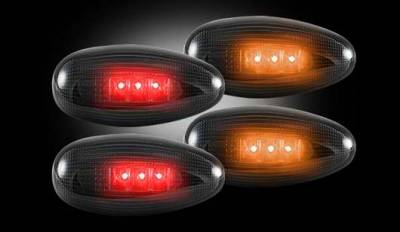 Recon - Recon LED Fender Lenses - Smoked Lens Black Trim - 2 Red and 2 Amber - 4PC - 264133BK