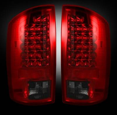Recon - Dodge Ram Recon LED Taillights - Dark Red Smoked Lens - 264179RBK