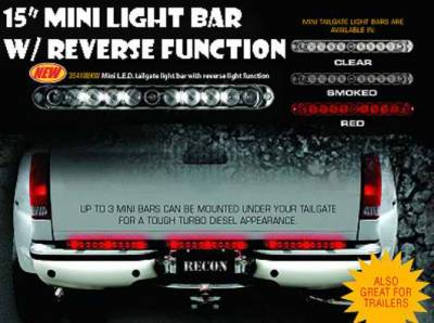 Recon - Recon 15 Inch Mini Tailgate LED Bar with Reverse Lights with Clear Lens - 26418CLW