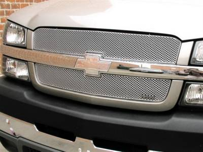 Grillcraft - Chevrolet Silverado MX Series Silver Upper Grille - 2PC - CHE-1505-S