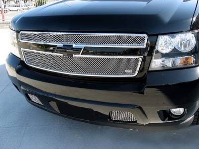 Grillcraft - Chevrolet Suburban MX Series Black Bumper Insert Grille - 2PC - CHE-1508-B