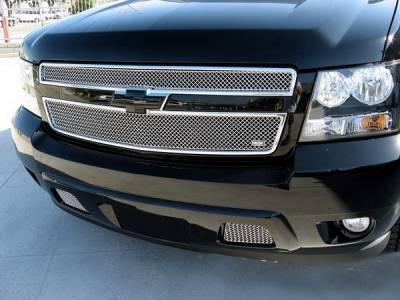 Grillcraft - Chevrolet Suburban MX Series Silver Bumper Insert Grille - 2PC - CHE-1508-S
