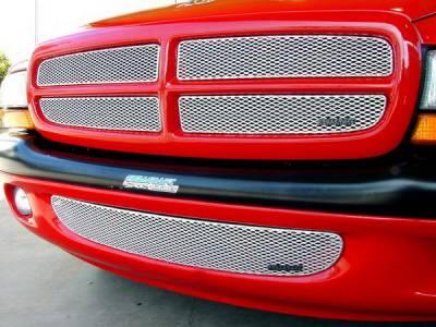 Grillcraft - Dodge Dakota MX Series Silver Upper Grille - 4PC - DOD-1250-S