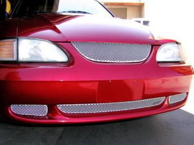 Grillcraft - Ford Mustang MX Series Silver Upper Grille - FOR-5005-S
