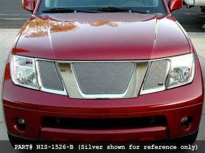 Grillcraft - Nissan Frontier MX Series Black Upper Grille - 3PC - NIS-1526-B