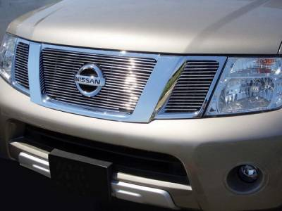 Grillcraft - Nissan Frontier BG Series Black Billet Upper Grille - With Logo Cut Out - 3PC - NIS-1526-BAO