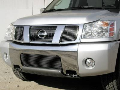 Grillcraft - Nissan Armada BG Series Black Billet Upper Grille - With Logo Cut Out - 3PC - NIS-1550-BAO