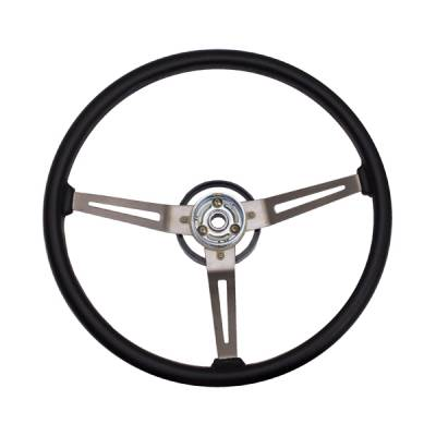 Omix - Omix Steering Wheel - Metal 3-Spoke Design - Black with Leather Trim - 18031-05