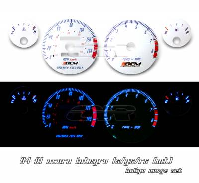 OptionRacing - Acura Integra Option Racing Indiglo Gauge Face Overlay Set - 58-10102
