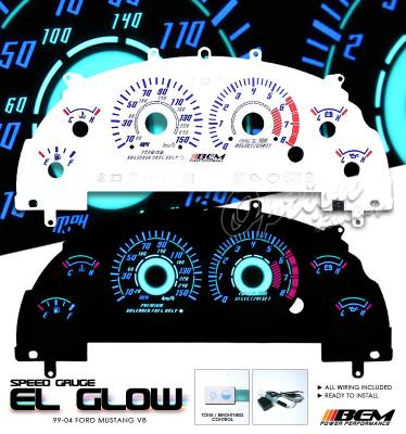 OptionRacing - Ford Mustang Option Racing Indiglo Gauge Face Overlay Set - 58-18120