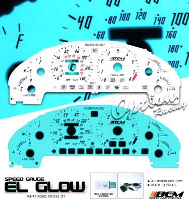 OptionRacing - Ford Probe Option Racing Indiglo Gauge Face Overlay Set - 58-18121