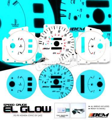 OptionRacing - Honda Civic Option Racing Indiglo Gauge Face Overlay Set - 58-20109