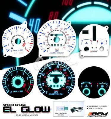 OptionRacing - Mazda MX6 Option Racing Indiglo Gauge Face Overlay Set - 58-31110