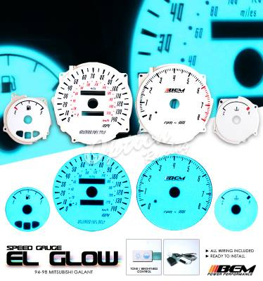 OptionRacing - Mitsubishi Galant Option Racing Indiglo Gauge Face Overlay Set - 58-35114