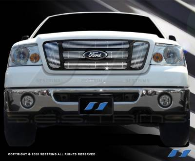 SES Trim - Ford F150 SES Trim Billet Grille - 304 Chrome Plated Stainless Steel - 6PC - CG127A