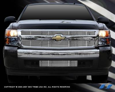 SES Trim - Chevrolet Silverado SES Trim Billet Upper Grille - 304 Chrome Plated Stainless Steel - CG153