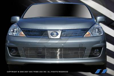 SES Trim - Nissan Versa SES Trim Billet Grille - 304 Chrome Plated Stainless Steel - Bottom - CG182B