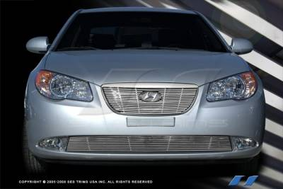 SES Trim - Hyundai Elantra SES Trim Billet Grille - 304 Chrome Plated Stainless Steel - Top - CG209