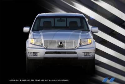 SES Trim - Honda Ridgeline SES Trim Billet Grille - 304 Chrome Plated Stainless Steel - Top - CG214A