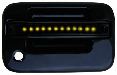 In Pro Carwear - Ford F150 IPCW LED Door Handle - Front - Black - Both Sides with Key Hole - 1 Pair - FLA04BF