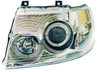 I-Tech - I-Tech Chrome Housing Headlights with Halo Ring and Clear Lights - 02AZFE03PCC