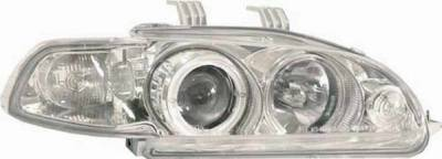I-Tech - I-Tech Chrome Housing Headlights with Halo Ring and Clear Lights - 1PC - 02AZHC92PCC