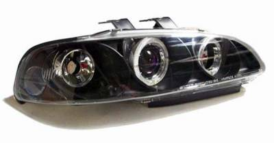 I-Tech - I-Tech Projector Headlights with Black Housing and Halo Ring and Blue lights - 1PC - 02ITHC924DPBBRIM1