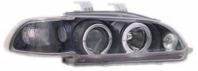 I-Tech - I-Tech Black Housing Headlights with Halo Ring and Clear Lights - 1PC - 02ITHC924DPBC