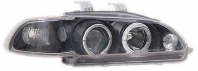 I-Tech - I-Tech Projector Headlights with Black Housing and Halo Ring and Clear lights - 1PC - 02ITHC92PBCRIM