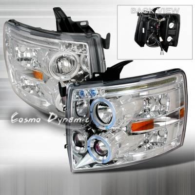 K2 - Silverado Headlights Dual Halo Chr