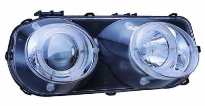 In Pro Carwear - Acura Integra IPCW Headlights - Projector with Rings - Chrome Housing & Clear Projector - 1 Pair - CWS-107C2