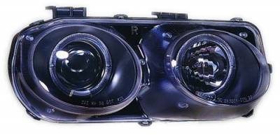 In Pro Carwear - Acura Integra IPCW Headlights - Projector with Rings - Black Housing & Blue Projector - 1 Pair - CWS-108B2