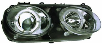 In Pro Carwear - Acura Integra IPCW Headlights - Projector with Rings - Chrome Housing & Clear Projector - 1 Pair - CWS-108C2