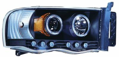 In Pro Carwear - Dodge Ram IPCW Headlights - Projector with Rings with Amber Reflector - 1 Pair - CWS-408B2